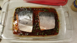marinating Sweet Chili Garlic Glazed Salmon